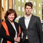 Ingrid Eiken Holmgren, vd Mäklarsamfundet och Joakim Lusensky, analys- och kommunikationschef Mäklarsamfundet. Foto: Caroline Berg