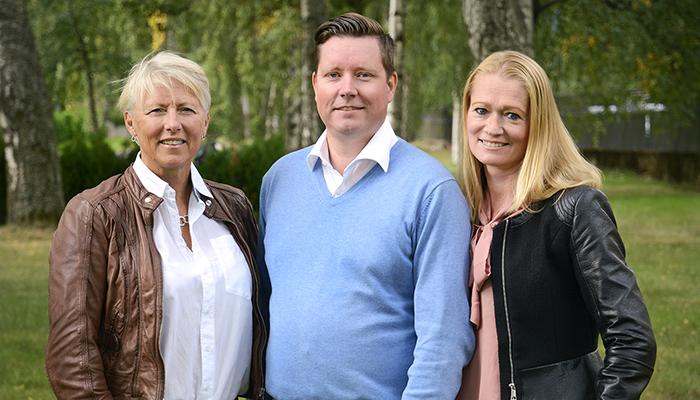 Eva Prien, utbildningsansvarig, Magnus Bäckström, kundombudsman och Anna From, marknadsansvarig.
