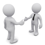 Two 3D business man in ties shake hands on a white background